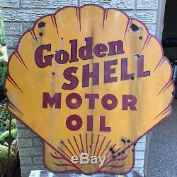 Vintage Golden Shell Motor Oil Sign Approximately 36 x 36