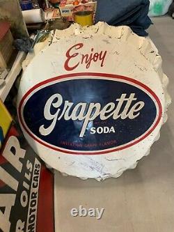 Vintage Grapette RARE Metal Bottle Cap Sign ORIGINAL GAS OIL SODA COLA