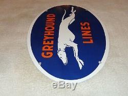 Vintage Greyhound Lines 16.5 Porcelain Metal Bus Station Gasoline Oil Sign Dog