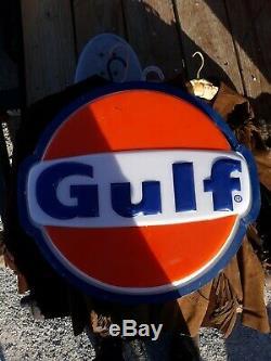 Vintage Gulf Oil Gas Dealer Lighted Sign 1983 WORKS