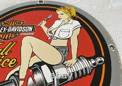 Vintage Harley Davidson Motorcycle Porcelain Sign Gas Oil Garage Repair Service