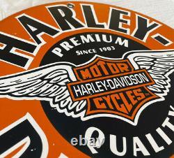 Vintage Harley Davidson Motorcycles Porcelain Dealership Sign Gas Oil Quality
