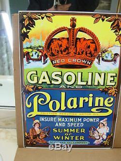 Vintage Heavy Porcelain Sign Red Crown Gasoline & Polarine -stanard Oil Gas Pump