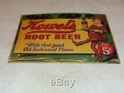 Vintage Howel's Root Beer 5 Cents 16 Embossed Metal Soda Pop, Gasoline Oil Sign