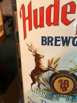 Vintage Hudepohl Beer Sign with Deer Cincinnati GAS OIL SODA COLA DEER 24 x 16