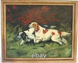 Vintage Hunting Scene Oil Painting Of Dogs, Signed