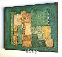 Vintage Impasto Abstract Oil Painting in Green & Orange, Artist Signed Gold 20