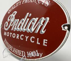 Vintage Indian Motorcycle Porcelain Sign Gas Oil Harely Davidson Scout Polaris