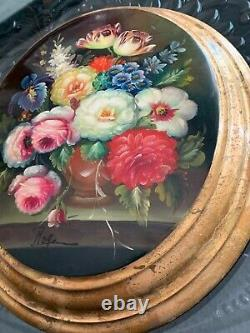 Vintage Italian gilded lacquered oil painting on oval wood flowers signed