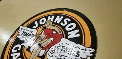 Vintage Johnson Gasoline Porcelain Gas Motor Oil Service Station Pump Plate Sign