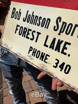 Vintage Johnson Outboard Boat Motor Metal Sign Forest Lake MN Gasoline Oil