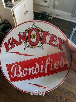 Vintage Kanotex Gas Pump Globe Lenses (2) NOS Sign Oil Service Station Gill Body