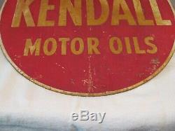 Vintage Kendall Motor Oil 24 Inch 2 Sided Metal Sign