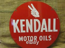 Vintage Kendall Motor Oil Sign Antique Old Gas Station Double Sided Auto 9762