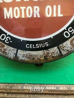 Vintage Kendall Motor Oil Thermometer Pam Clock Company Gas Sign glass