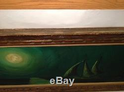 Vintage LARGE CARVED Wood Mid-Century Modern Signed Oil Painting Picture Frame