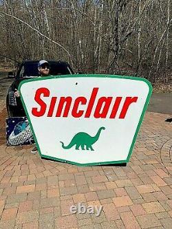 Vintage LG 7Ft Porcelain Sinclair Oil Gas Gasoline Sign Service Station With Dino