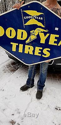 Vintage LG Porcelain Goodyear Tire Display Sign Gas Oil Gasoline Service Station