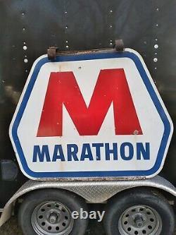 Vintage Large Porcelain Double Sided Marathon Oil Gas Station Advertising Sign