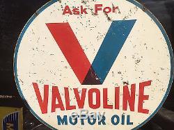 Vintage Lg 1960 Metal Valvoline Sign 2sided Automobile Gas Gasoline Oil 30in