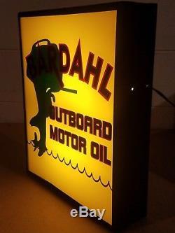 Vintage Light Up Advertising Sign Bardahl Outboard Motor Oil Dealership Sign