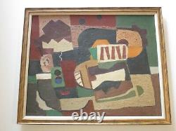 Vintage MID Century Cubist Cubism Abstract Painting Non Objective 1950's King