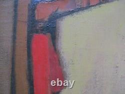 Vintage MID Century Modern Painting Abstract Cubist Figure Cubism Expressionism