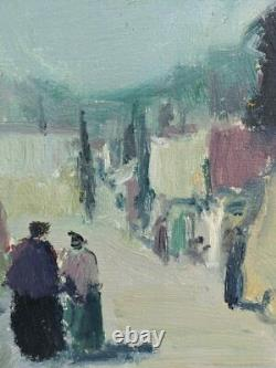 Vintage MID Century Modernist Swedish Framed Oil Painting Street Scene Walk