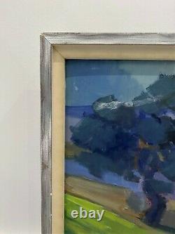 Vintage MID Century Swedish Modernist Framed Oil Painting Flow