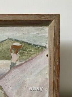 Vintage MID Century Swedish Modernist Framed Oil Painting Though The Terrain