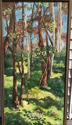 Vintage MODERNIST Woods LILLIAN MAXWELL ABSTRACT OIL PAINTING Mid Century Modern