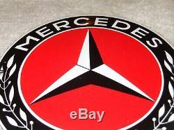 Vintage Mercedes Benz Luxury Car 5 Porcelain Metal Enamel Gasoline & Oil Sign