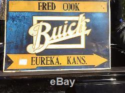 Vintage Metal Buick Car Automobile Dealership Gasoline Oil Sign Gas Eureka KS