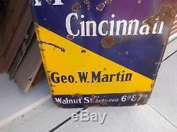 Vintage Metropole Hotel Cincinnati Ohio Curved Lighthouse Porcelain Sign GAS OIL