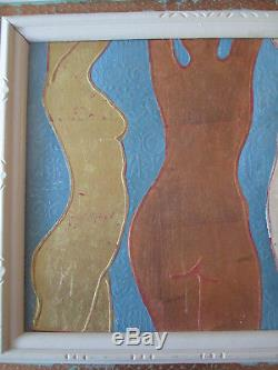Vintage Mid Century Abstract Female Nude Modernist Oil Painting on Canvas Signed