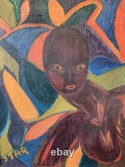 Vintage Mid Century African Art Original Framed Oil On Hessian Naive Signed