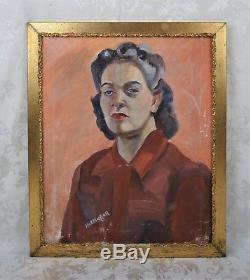 Vintage Mid Century Art Deco Oil Portrait Painting of Lovely Woman Signed 1940's