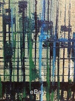 Vintage Mid Century Modern Abstract Geometric Cityscape Oil Painting 1960s