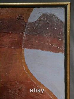 Vintage Mid Century Modern Abstract Oil Painting Ronald Hayes Maine 1972 Cubism