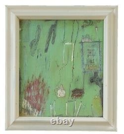 Vintage Mid Century Modern Abstract Oil Painting Signed PM Surreal Mystery Art