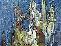 Vintage Mid-Century Modern Cubist European Cityscape Oil Painting signed Hartman