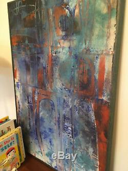 Vintage Mid Century Modern Large Abstract Oil Cloth Mixed Painting Signed