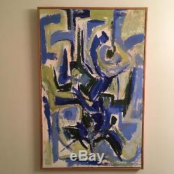 Vintage Mid Century Modern Large Abstract Oil Painting Signed