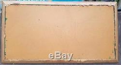 Vintage Mid Century Modern OIL PAINTING Nautical Ships SIGNED MONTI 51 x 28