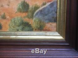 Vintage Mid Century Western Art Oil Painting Horses Cowboys Signed B Tiedemann