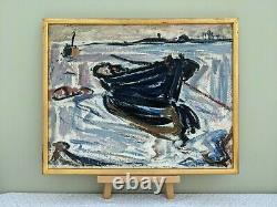 Vintage Midcentury Modernist Expressionist Swedish Framed Oil Painting Moored