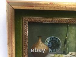 Vintage Miniature Oil Painting Still Life Table Vase Bottle Signed D. Golledge