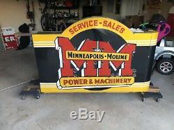 Vintage Minneapolis Moline Tractor Porcelain Neon Sign Gas Oil Dealership Deere