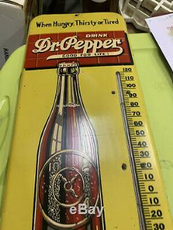 Vintage Mint Metal Dr. Pepper Thermometer Sign COLA SODA GAS OIL NOS 25 x 9