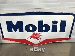 Vintage Mobil Oil 1956 Double Side Gas Porcelain Sign